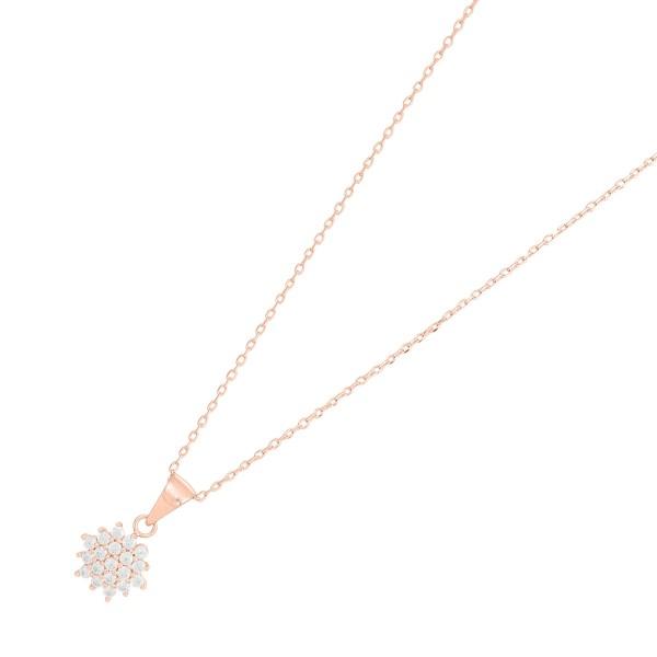 JOANLI NOR 245082-4 Halskette Brinnie Sterling Silber 925 rose vergoldet Blüten Anhänger klare Zirkonia
