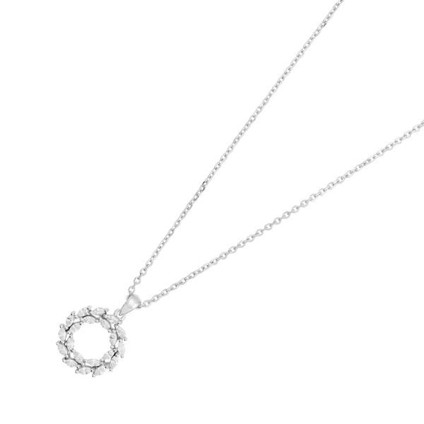 JOANLI NOR 245083 Halskette Bibbi Sterling Silber 925 rhodiniert Kranz Anhänger Navette Zirkonia