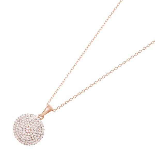 JOANLI NOR 245084-4 Halskette Bell Sterling Silber 925 rose vergoldet Kreis Anhänger klare Zirkonia