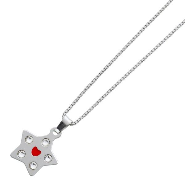 Kette Stern Silber 925 Anhänger Herz rot Kristalle