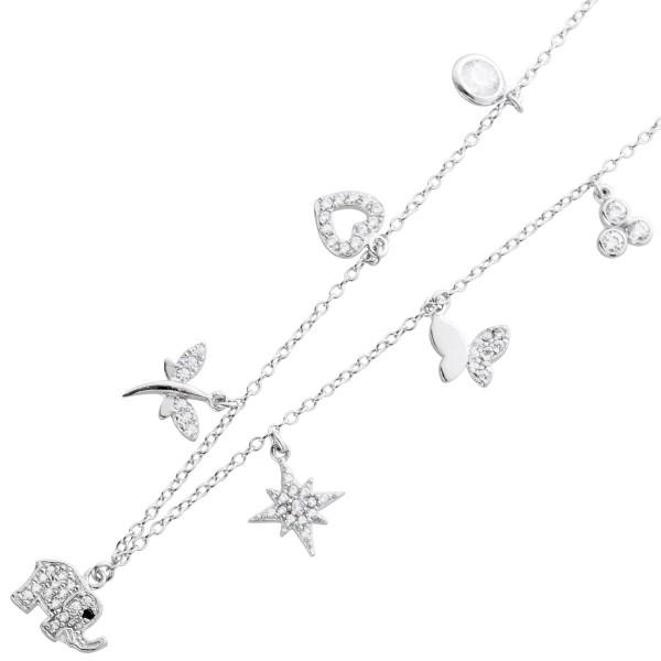 Kinderkette Silber 925 Kette Anhänger Stern Herz Elefant Schmetterling