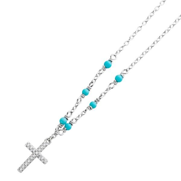 Kreuz Kette Silber 925 Anhänger Edelstein blau Türkis synthetisch