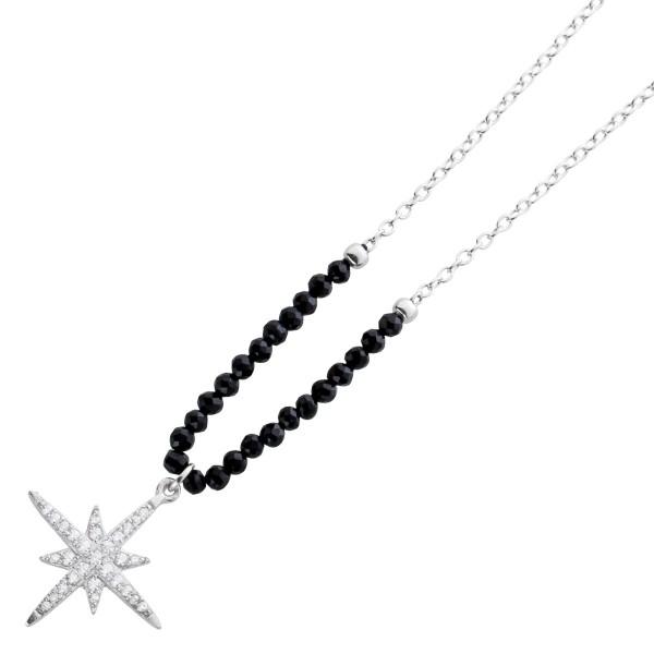Kette Stern Anhänger Silber 925 schwarz weiß Zirkonia