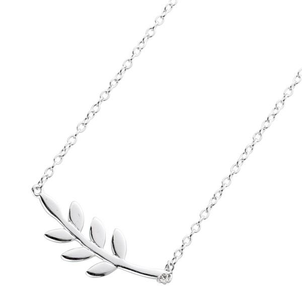 Halskette Collier Silber 925 Blatt Anhänger Kette