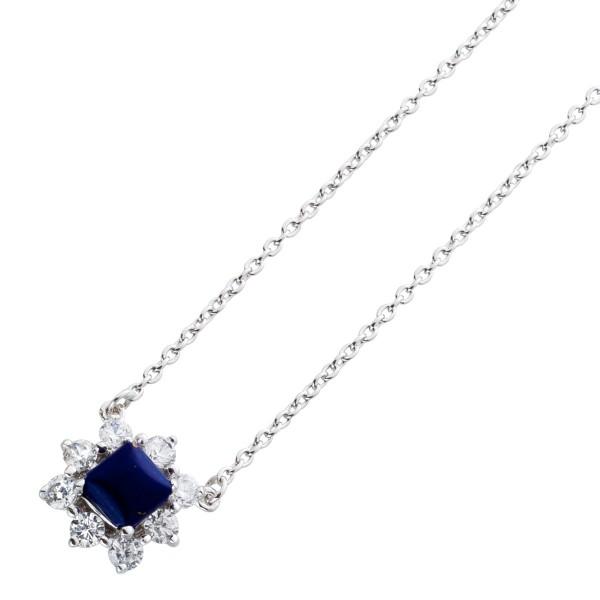 Halskette Lapislazuli Anhänger Blauer Edelstein Anhänger Lapislazulikette Silber 925 klarer Zirkonia