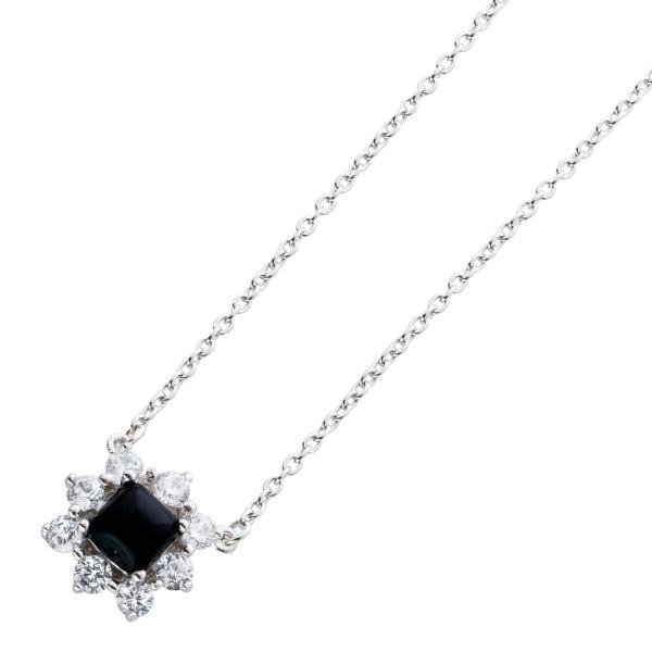 Halskette Onyx Schwarze Edelsteinanhängerkette Silber 925 schwarzer Onyx Cabochon Anhänger klare Zirkonia