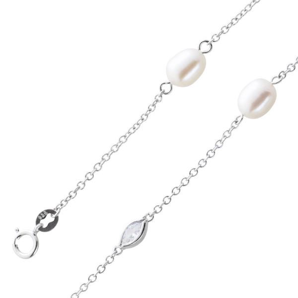 Fusskette Perlen weiß Silber 925 Zirkon...
