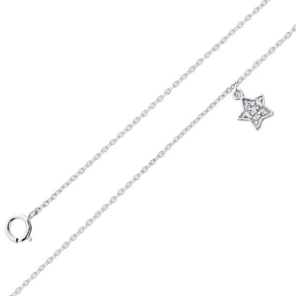Stern Fusskette Damen Silber 925 Stern weisse Zirkonia 23+5cm Silberschmuck Silberfussketten Damenschmuck