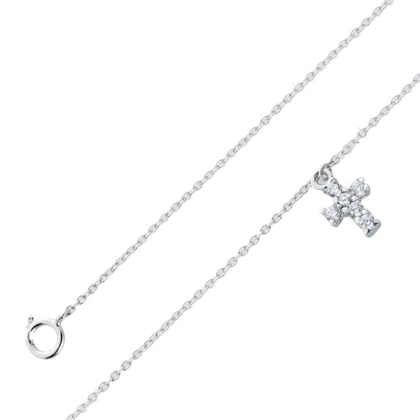 Fusskette Damen Silber 925 Kreuz Zirkonia 23+5cm Silberschmuck Silberfussketten Damenschmuck