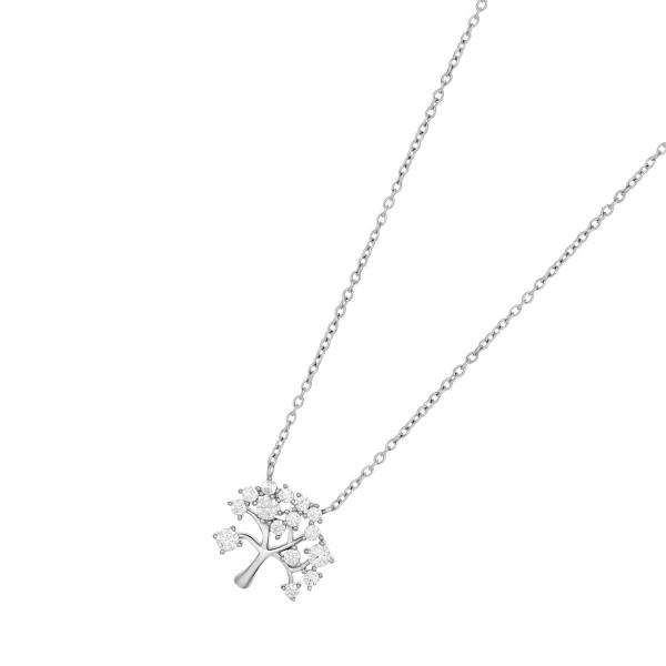 JOANLI NOR Halskette Lebensbaum Silber 925 Anhänger klare Zirkonia 15mm Cleo 245 097