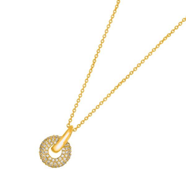 JOANLI NOR Halskette Silber 925 vergoldet Anhänger klare Zirkonia Calluna 208 003-3