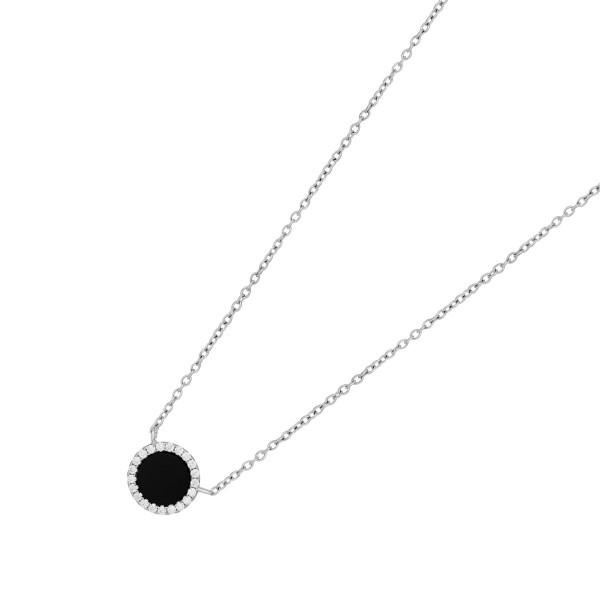 JOANLI NOR Halskette Silber 925 Anhänger schwarzer Onyx klare Zirkonia 10mm Cami 245 098