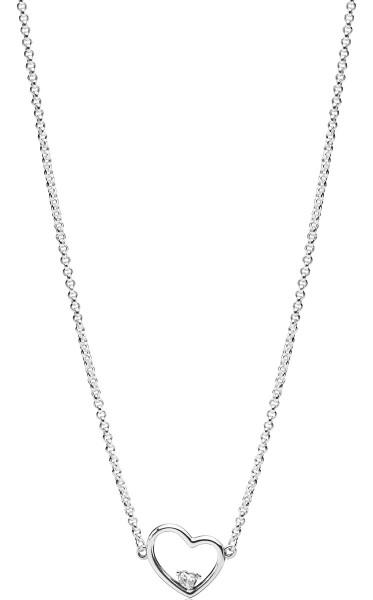 PANDORA SALE Halskette 397797CZ-45 Asymmetric Heart of Love Länge 45cm Anhänger Herz Silber 925 klarer Zirkonia