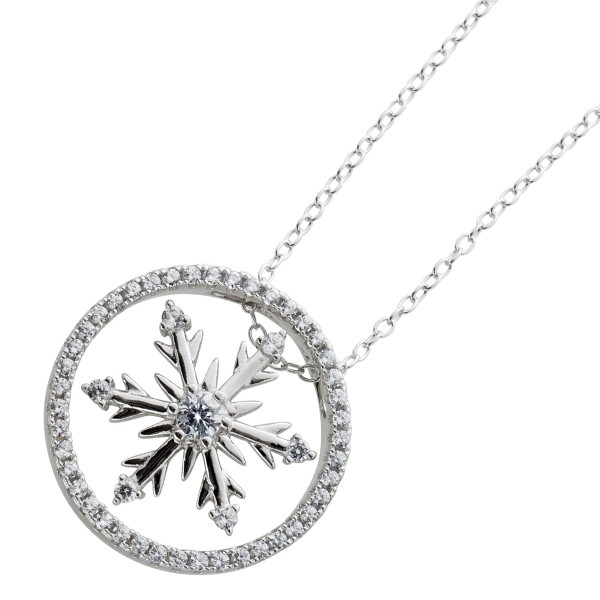 Silberkette runder Schneeflocken Anhänger weißen Zirkonia