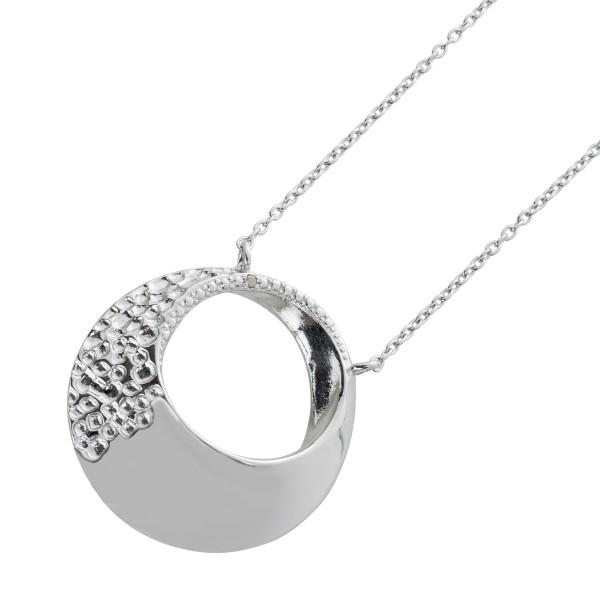 Ankerkette Anhänger Diamant Silber 925  teils gehämmerte Optik