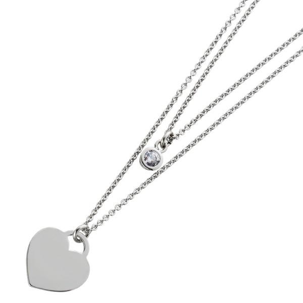 Herzkette 2-reihig Silber 925 Gravurplatte Zirkonia Damen Halskette
