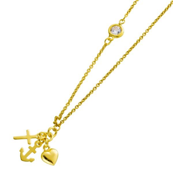 Damen Halskette Silber 925 vergoldet Liebe Glaube Hoffnung Anhänger klarer Zirkonia 42+5cm