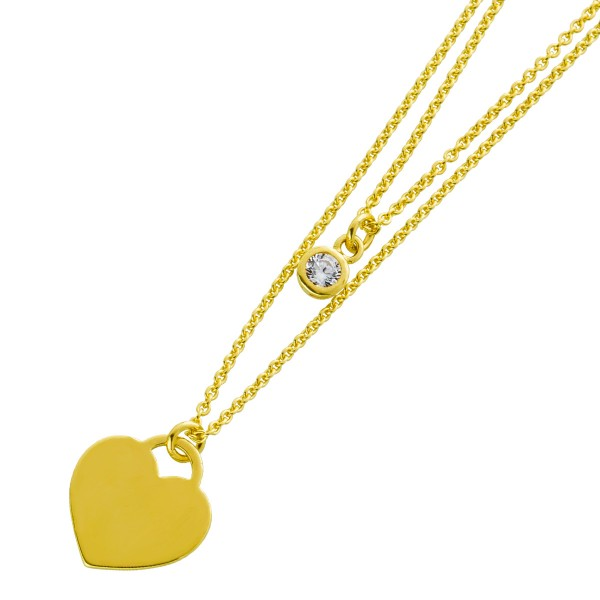 Herzkette 2-reihig Silber 925 vergoldet  Gravurplatte Zirkonia Damen Halskette