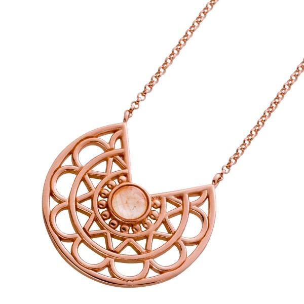 Lebensblume Anhänger Kette Silber 925 rose vergoldet Rosenquarz Cabochon 42+3cm