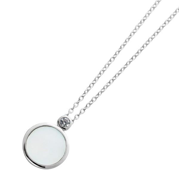 Kette Perlmutt Anhänger Halskette Silber 925 Zirkonia 40+5cm