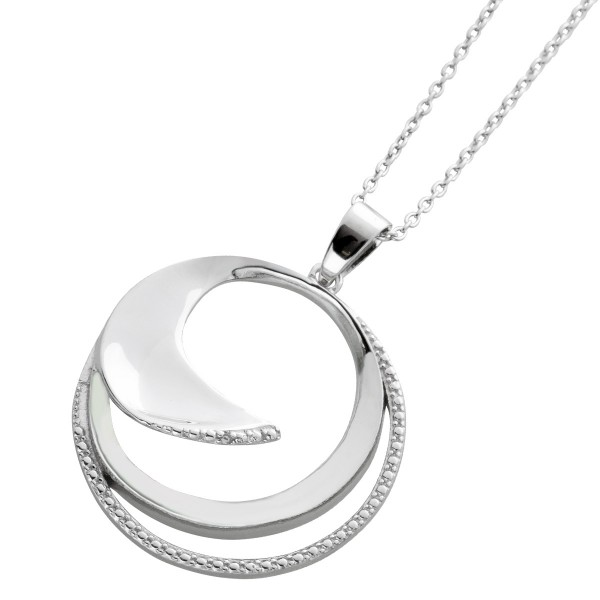 Halskette Ankerkette Diamant Design Anhänger Silber 925 Damen 40+5cm
