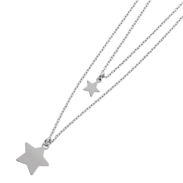 Sternenkette 2-reihige Ankerkette Silber 925 Sternanhänger  Damen 42+5cm