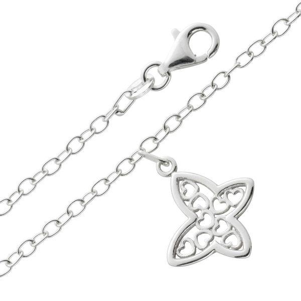 Fußkettchen Schmetterling Fußkette Silber 925/- Ankerkette 2,4mm Schmetterling Anhänger 25cm