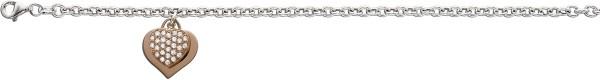 Armband aus Sterling Silber 925/- 2 Herzanhänger rosévergoldet mit Zirkonia