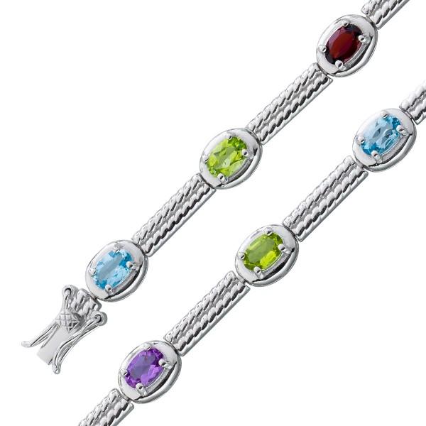 Armband Sterling Silber 925 Edelsteine Amethyst Blautopas Citrin Peridot