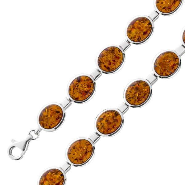 Edelstein Armband Silber 925 brauner ova...
