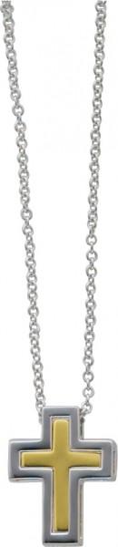 Collier 40 cm lang aus echtem Silber Sterlingsilber 925/- mit einem Kreuzanhänger (Kreuz in Kreuz), teilweise vergoldet (15x19mm). Stärke der Kettte ca. 1,9mm, mit stabilem Federringverschluss. Zu einem Sensationspreis von Deutschlands größtem Schmucklief